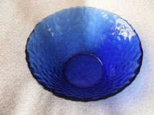 "ELEGANT DEEP COBALT BLUE GLASS DISH TEXTURED OUTER USEFUL SIZE 5.5"" DIA FRANCE"